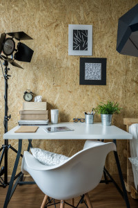 Modern atelier of young photographer - vertical view